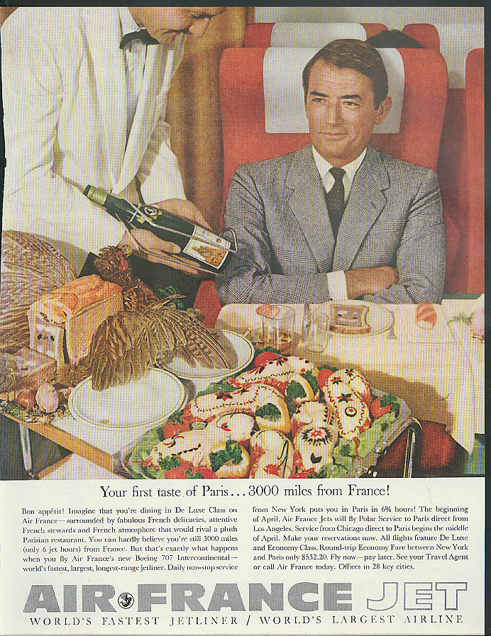Your first taste of Paris 3000 miles from France Gregory Peck Air France ad 1960