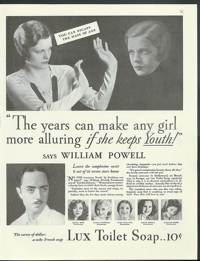 Make any girl more alluring if she keeps Youth! William Powell Lux Soap ad 1931