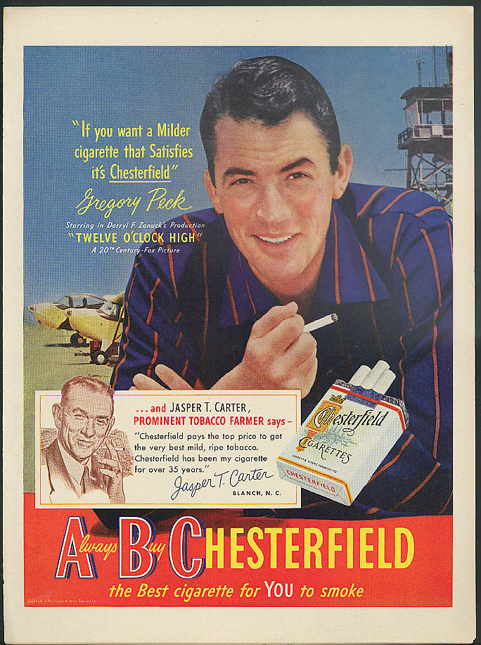 Gregory Peck in Twelve O'Clock High for Chesterfield Cigarettes ad 1950