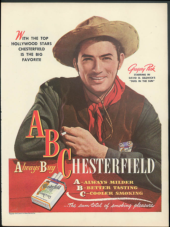 Gregory Peck in Duel in the Sun for Chesterfield Cigarettes ad 1947