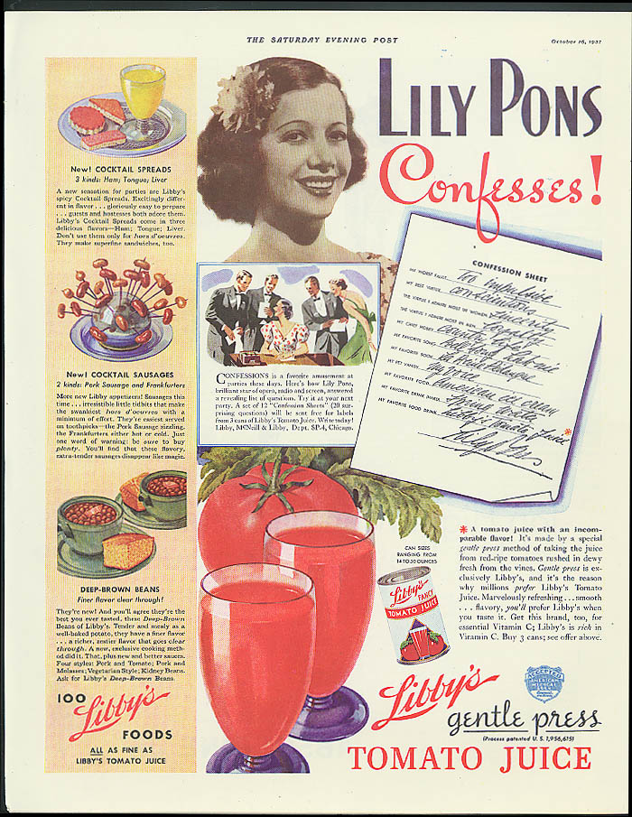 Lily Pons Confesses! Libby's Gentle Press Tomato Juice ad 1937