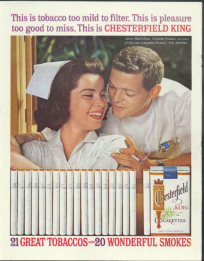 Stefanie Powers James MacArthur The Interns for Chesterfield Cigarettes ad 1962