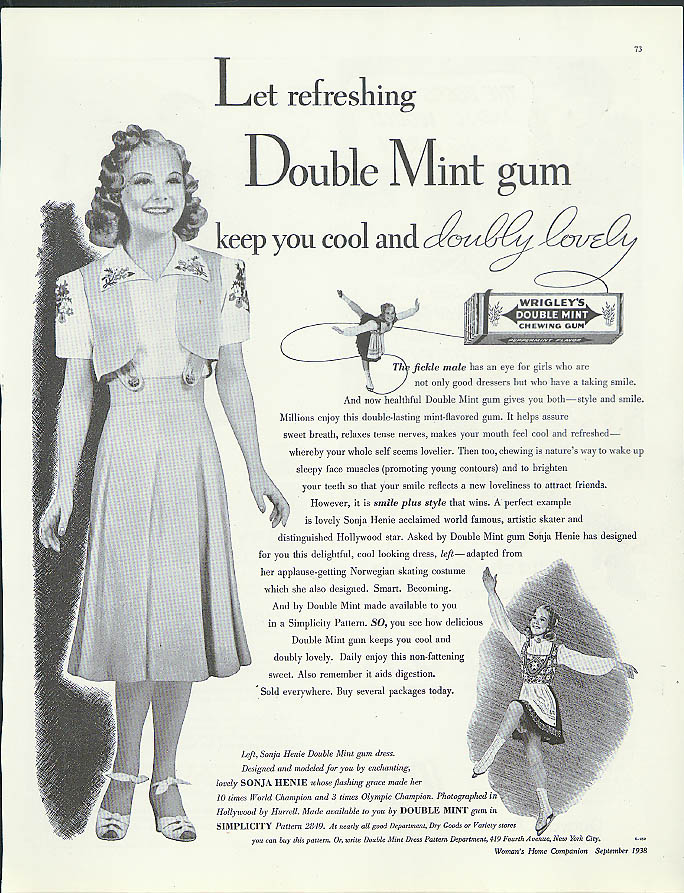 Let refreshing Double Mint Gum keep you cool Sonja Henie Wrigley's ad 1938