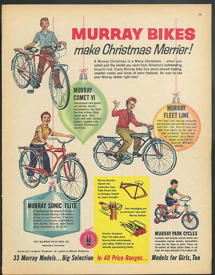 Murray Bikes make Christmas Merrier! Comet VI Sonic Flite Fleet bicycle ad 1960