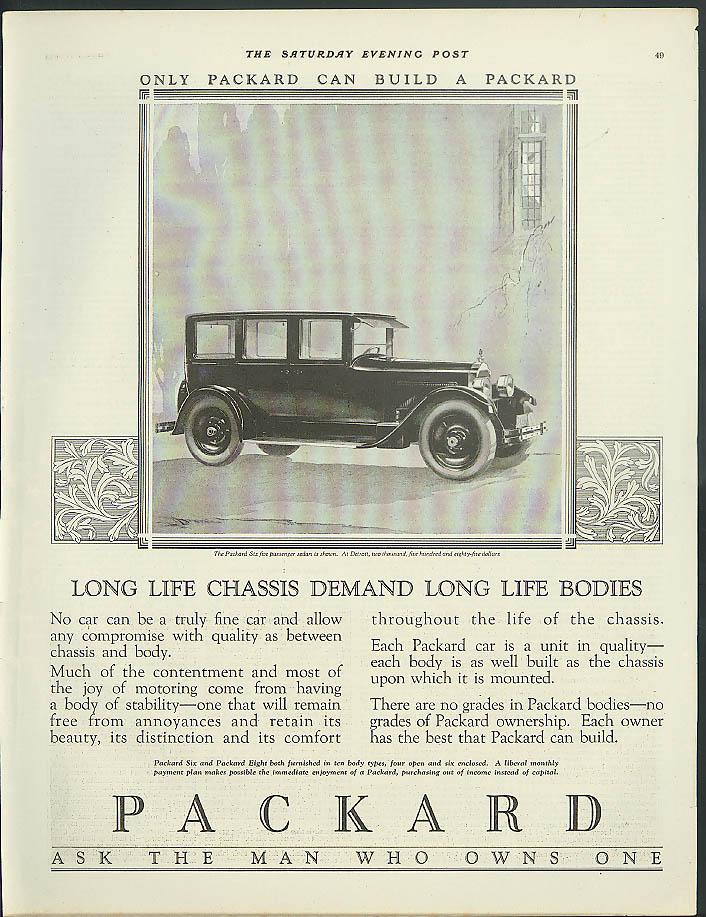 Long life chassis demand long life bodies Packard Six Sedan ad 1925