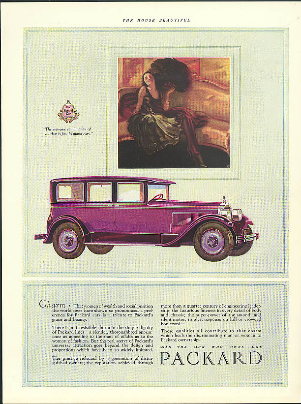 Charm - That women of wealth have shown preference Packard Sedan ad 1927