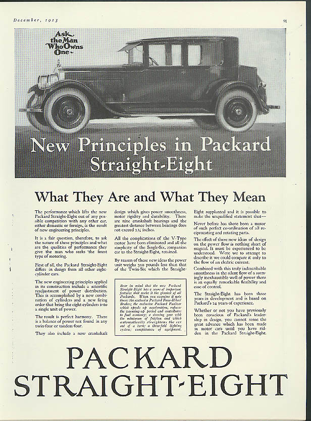 New Principles in Packard Straight-Eight ad 1924 close-coupled sedan