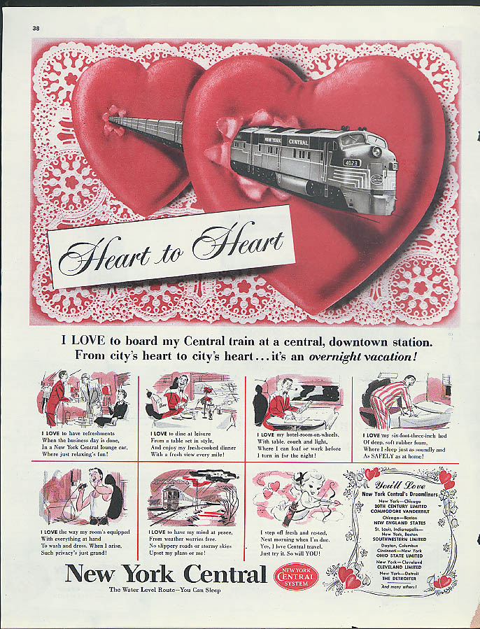 Heart to Heart New York Central downtown to downtown ad 1951