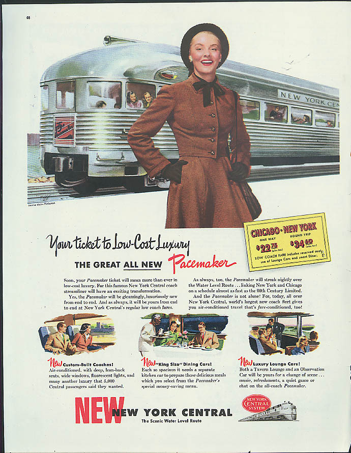 Image for Your ticket to low-cost luxury New York Central Pacemaker streamliner ad 1947