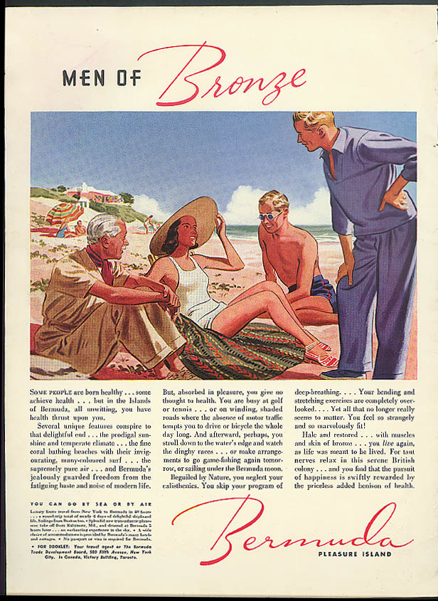 Men of Bronze Bermuda Pleasure Island Trade Development Board ad 1938