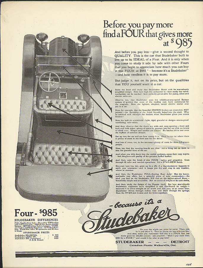 Before you pay more find a Four that gives more Studebaker Touring ad 1915