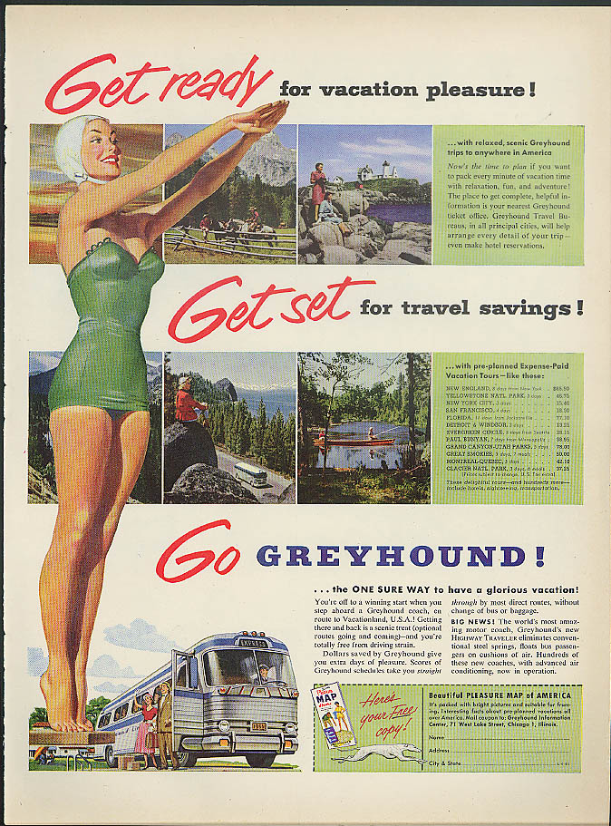 Get ready Get set Go Greyhound Bus ad 1953 girl green swimsuit & cap