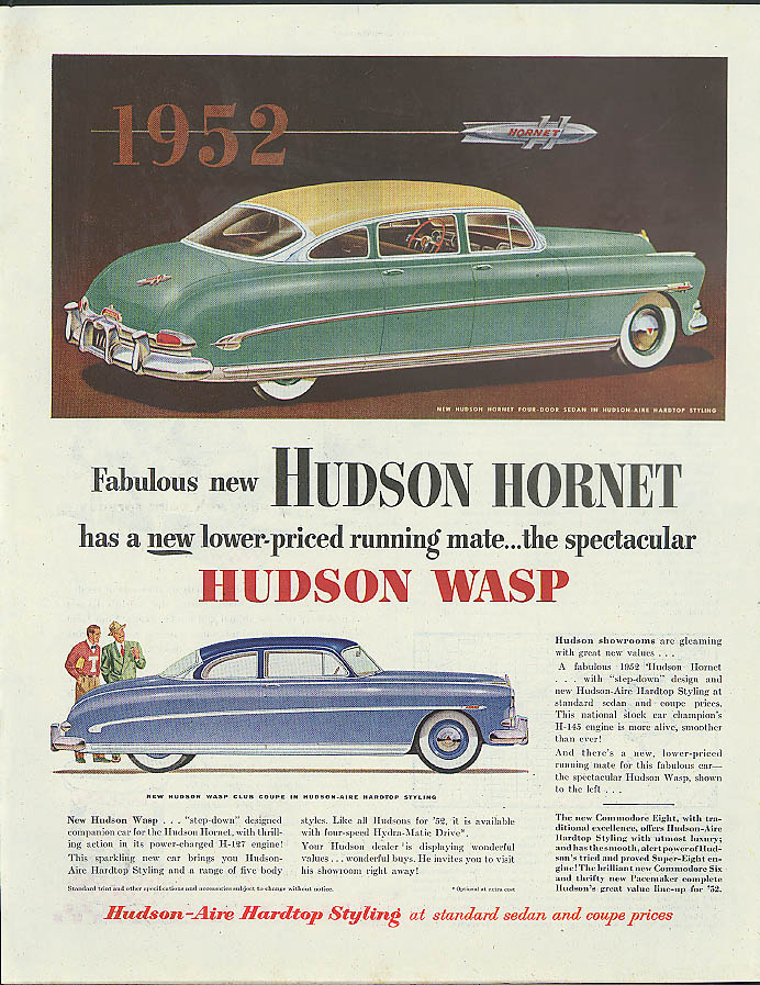 Fabulous new Hudson Hornet & Wasp ad 1952