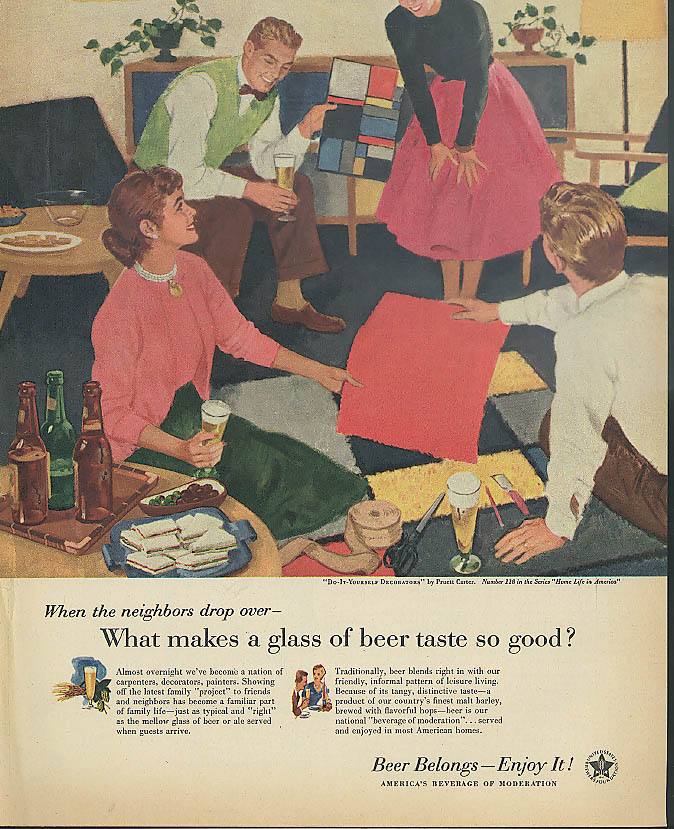 Beer Belongs Do-it-Yourself Decorators by Pruett Carter ad 1956