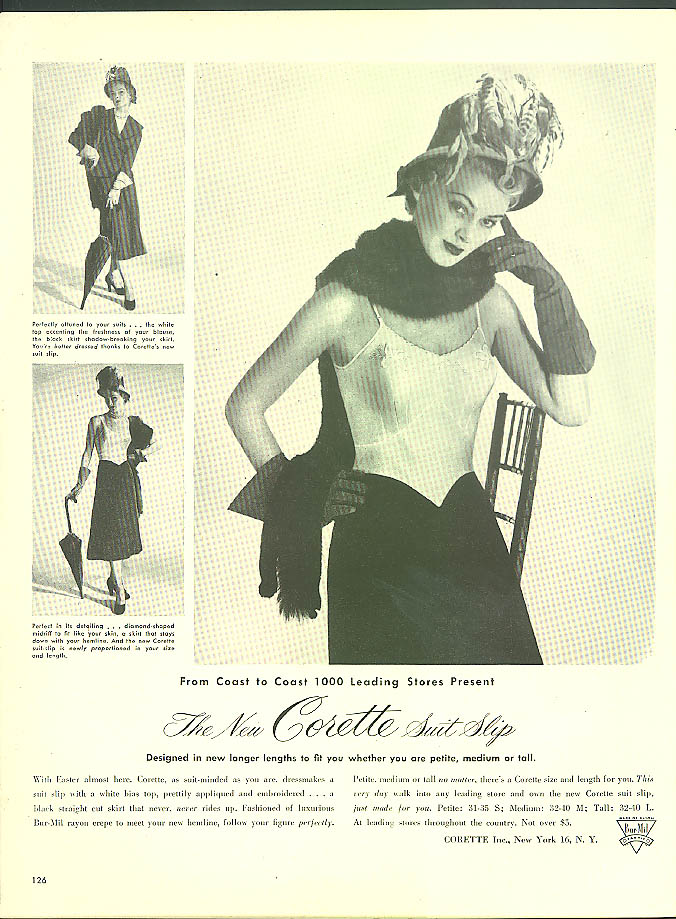 1000 leading stores present The New Corette Suit Slip ad 1948