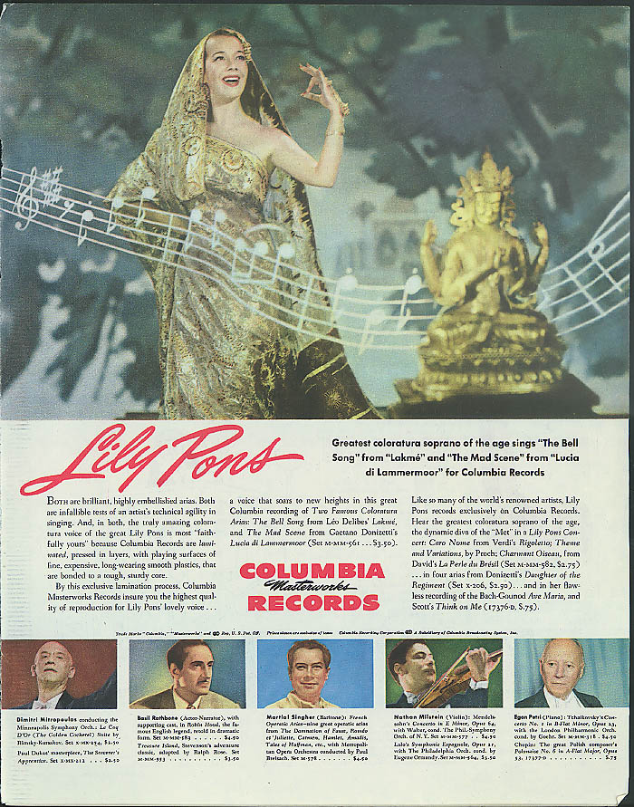 Lily Pons for Columbia Masterwork Records ad 1945