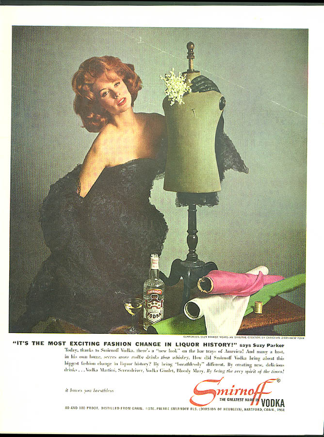 Fashion model Suzy Parker for Smirnoff Vodka ad 1961