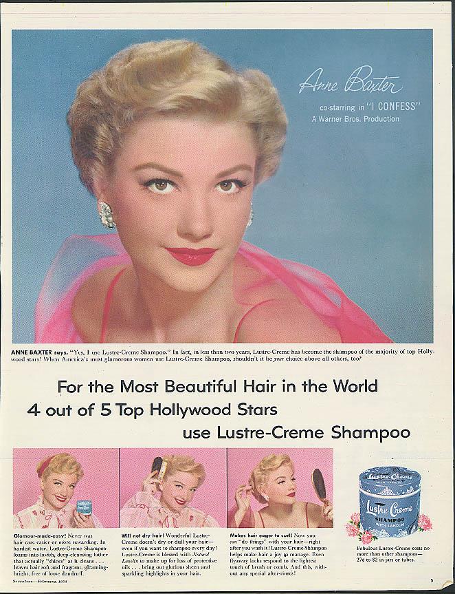 Anne Baxter in I Confess for Lustre-Crème Shampoo ad 1953 Seventeen