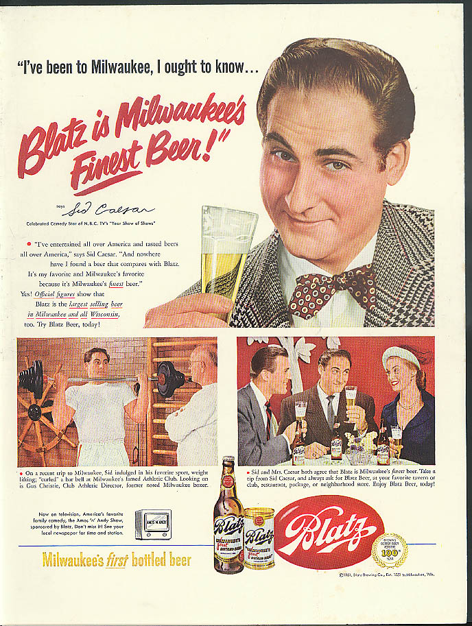 Sid Caesar of Your Show of Shows for Blatz Beer ad 1951