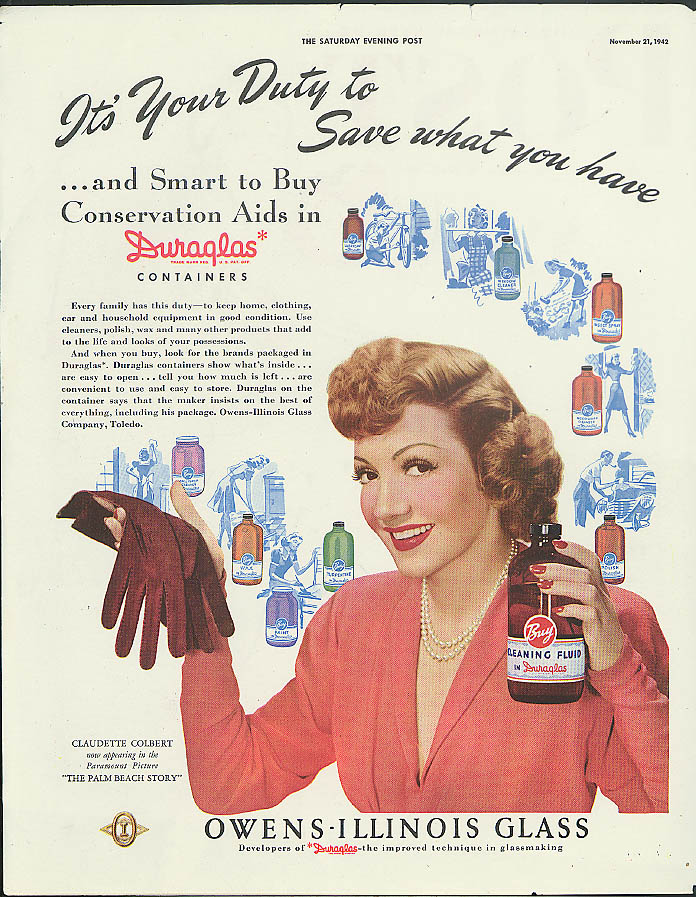 Claudette Colbert in The Palm Beach Story for Duraglas Containers ad 1942