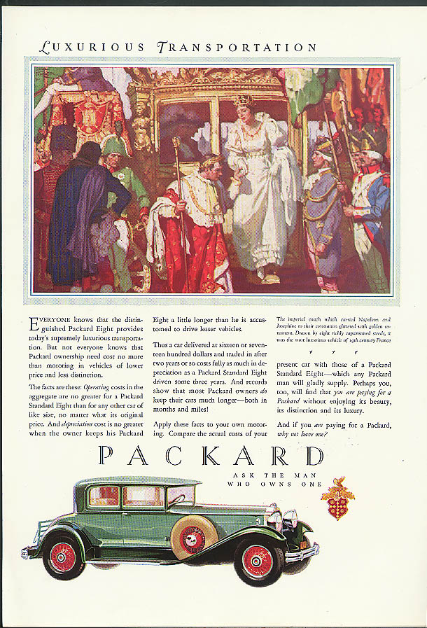 Everyone knows today's supremely luxiruois transportation Packard Coupe ad 1930