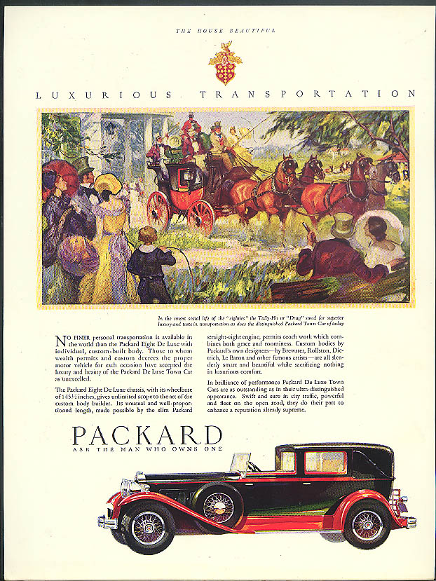 No finer personal transportation available Packard Town Car ad 1930