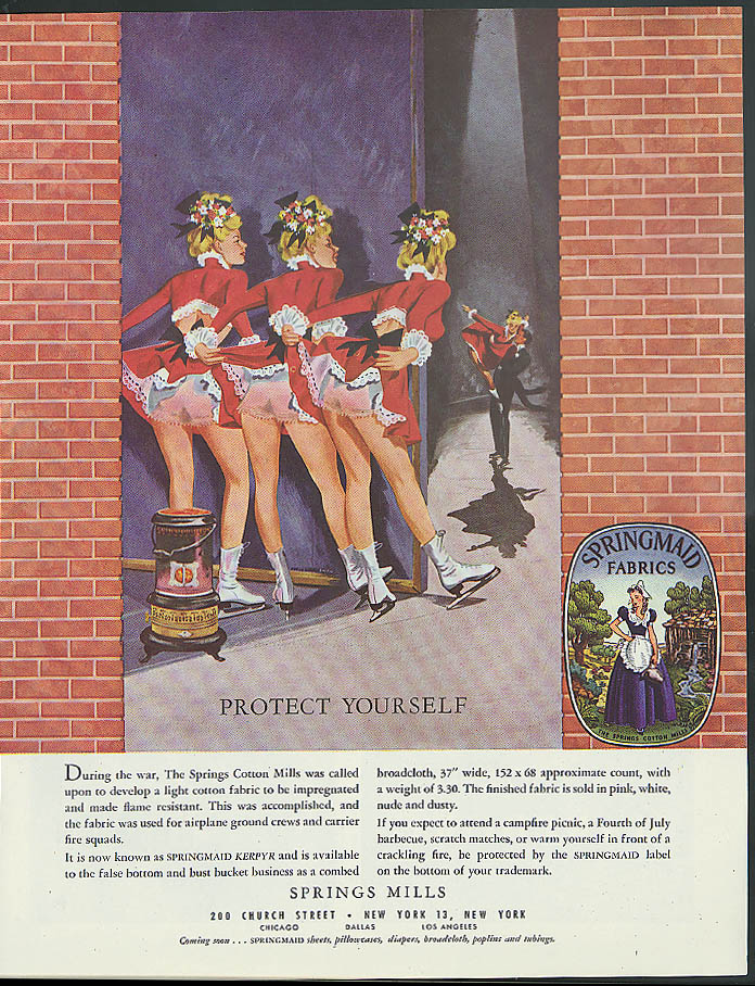 Protect Yourself Springs Mills Springmaid Kerpyr Panty Fabric ad 1948 ice dancer