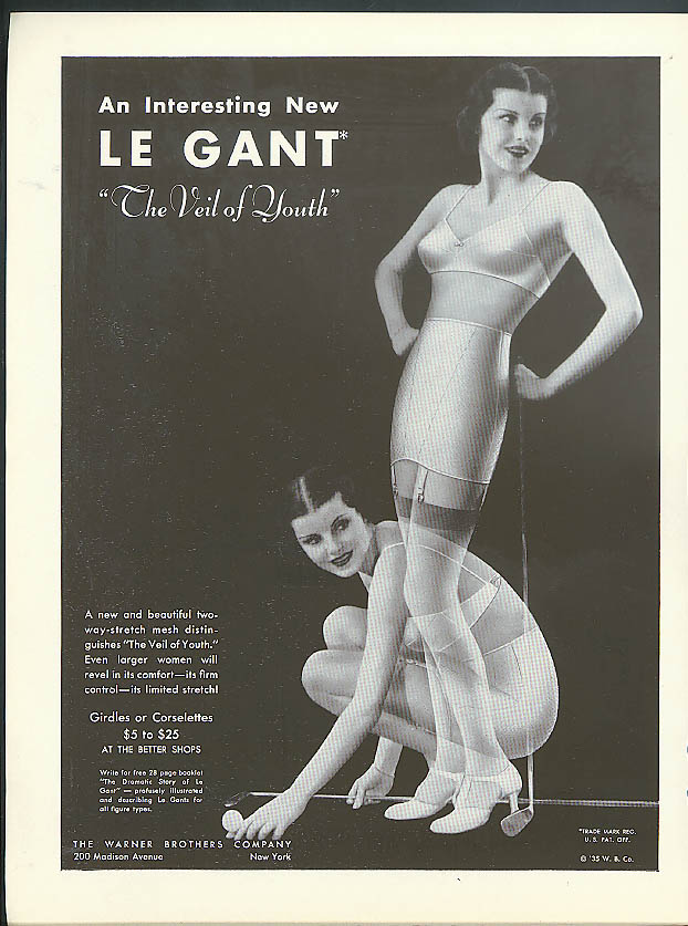 An Interesting New Le Gant Girdle The Veil of Youth Warner's ad 1935
