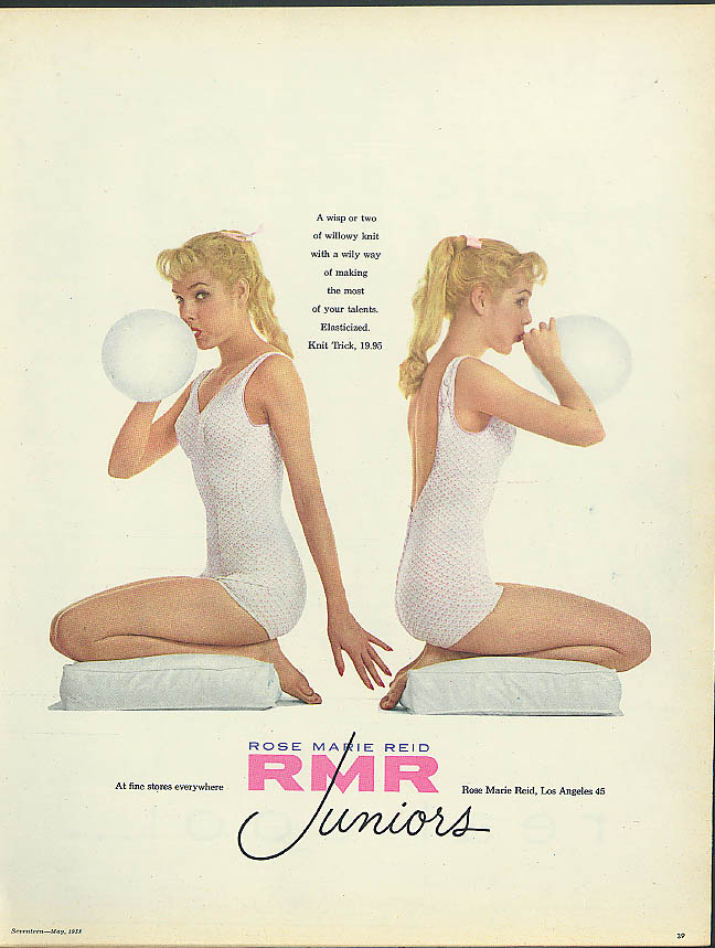 A wisp of two of willowy knit Rose Marie Reid Juniors SwimSuits ad 1958