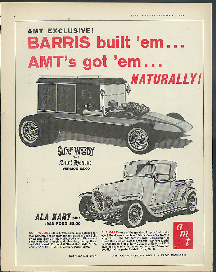 Barris built 'em AMT's got 'em Surf Woody Hearse Ala Kart 1929 Ford ad 1965