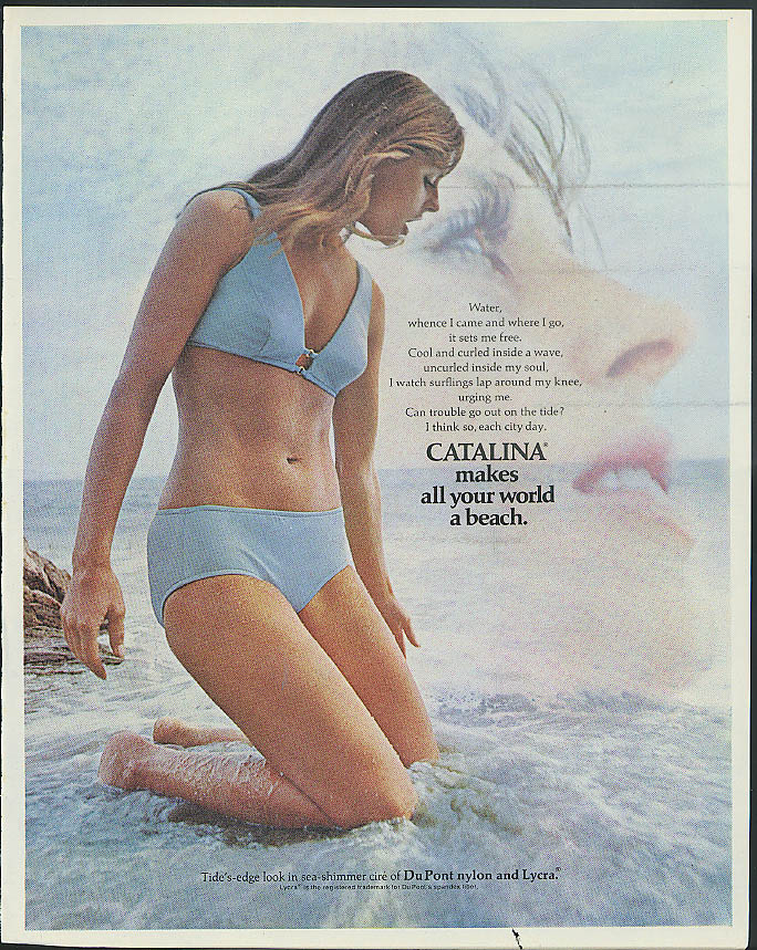 bfa7afba5c7 Water whence I came & where I go Catalina Bikini Swimsuit ad 1971