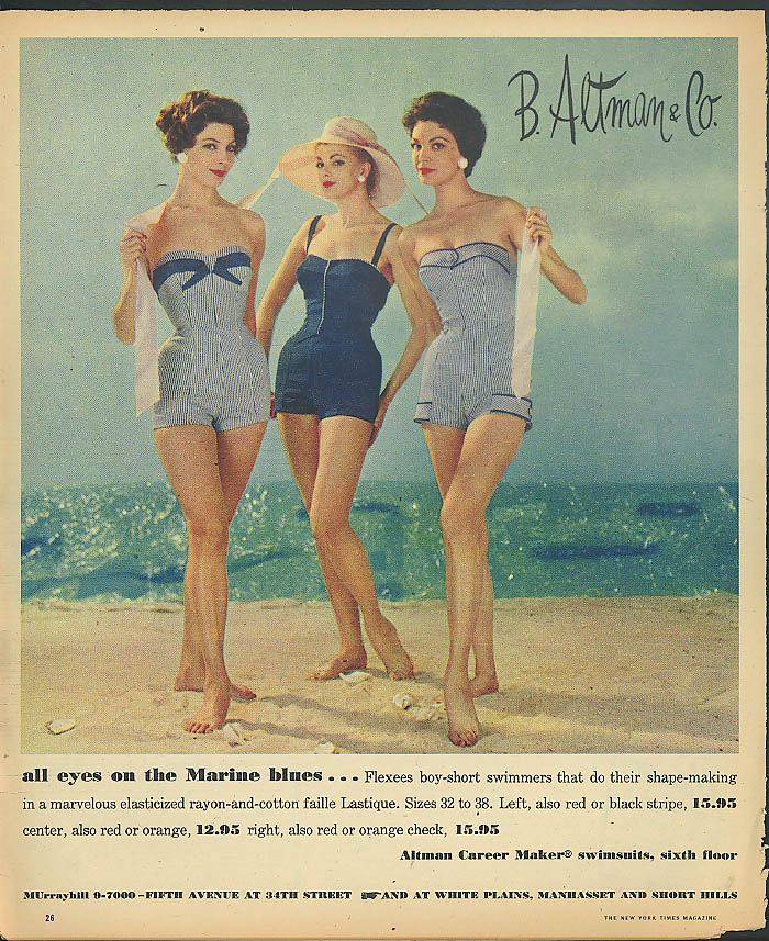 All eyes on the Marine blues Flexees Swimsuit B Altman & Co ad 1957
