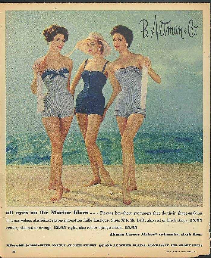 All eyes on the Marine blues Flexees Swimsuit B Altman & Co ad 1957
