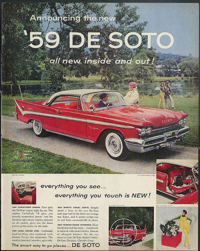 Announcing the new De Soto everything you see & touch is new! ad 1959 DeSoto LK