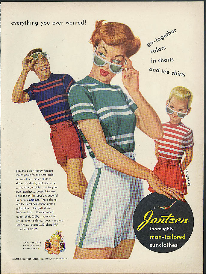 Image for Go-together colors in shorts & tee shirts Jantzen ad 1950 Pete Hawley pin-up