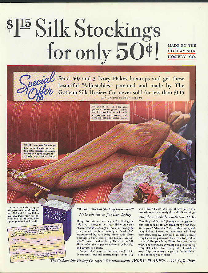 $1.15 Gotham Silk Stockings only $50c Ivory Flakes Soap ad 1935