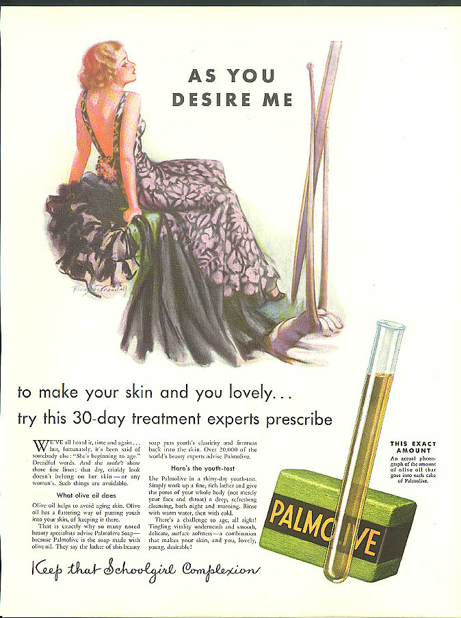 As You Desire Me Palmolive Soap ad 1933 Bradshaw Crandell pin-up