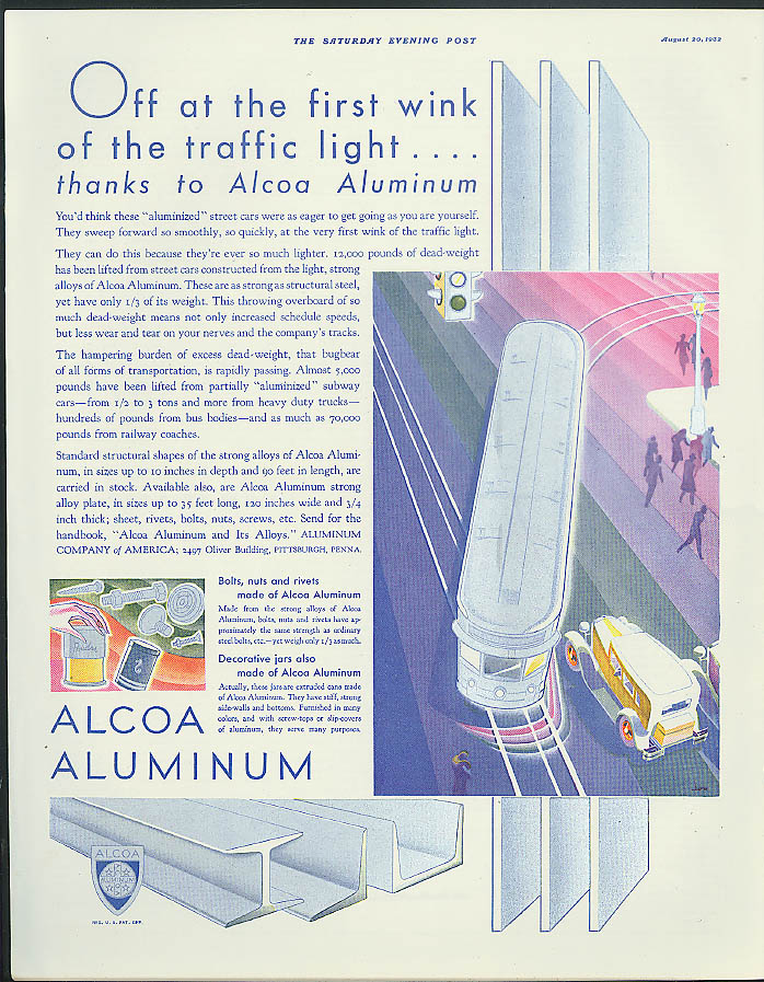 Image for Off at the first wink of the traffic light Alcoa Aluminum Streetcar ad 1932