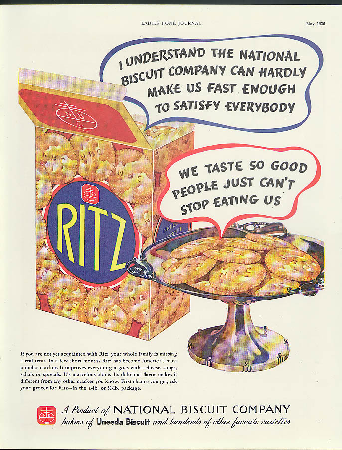 Nabisco can hardly make us fast enough for everybody Ritz Crackers ad 1936