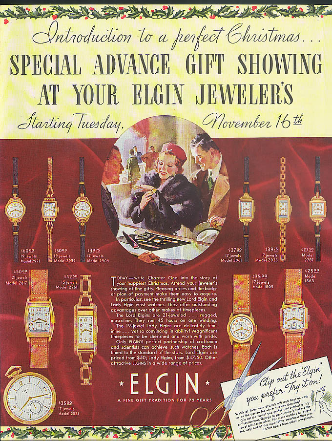 Introduction to a perfect Christmas - Elgin Wristwatches ad 1937
