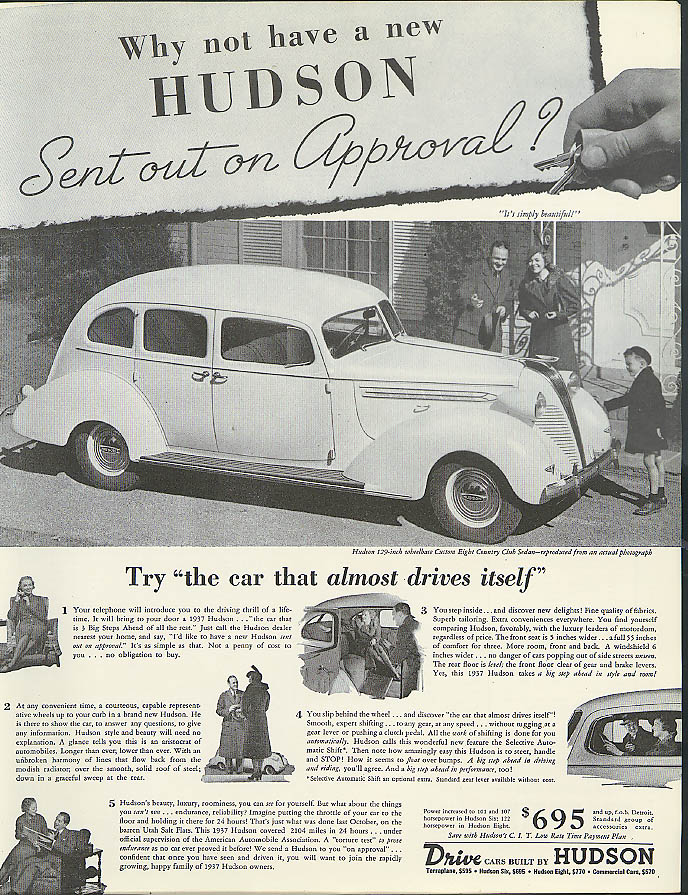 Image for Why not have a new Hudson Country Club Sedan Sent out on Approval? ad 1937