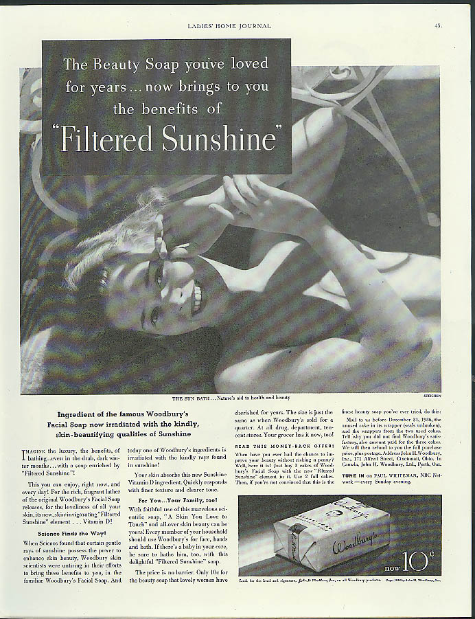 The Beauty Soap brings you Filtered Sunshine Woodbury's ad 1936 Steichen photo
