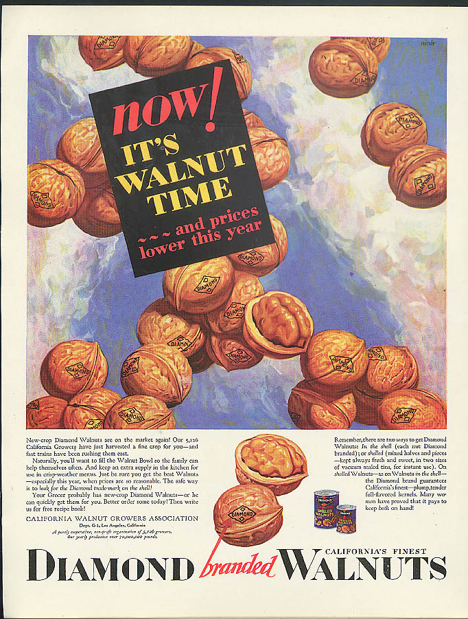 Image for Now! It's Walnut Time and prices lower this year Diamond Walnuts ad 1929