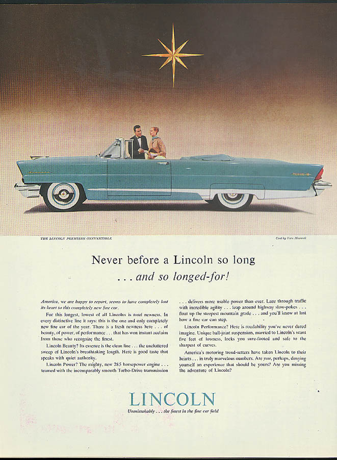 Image for Never before a Lincoln so long Premiere Convertible ad 1956