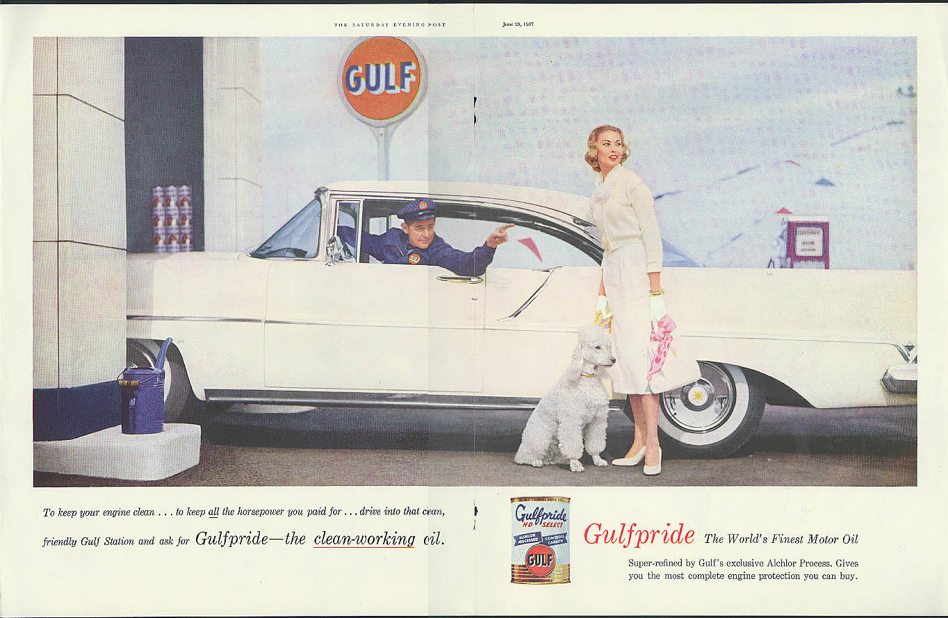 Image for Gulf Gulfpride the clean-working oil ad 1957 Lincoln Premiere Coupe