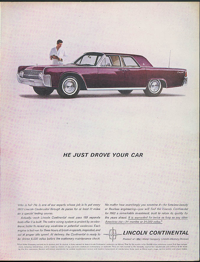 Image for He just drove your car Lincoln Continental 4-door hardtop ad 1962 Holiday