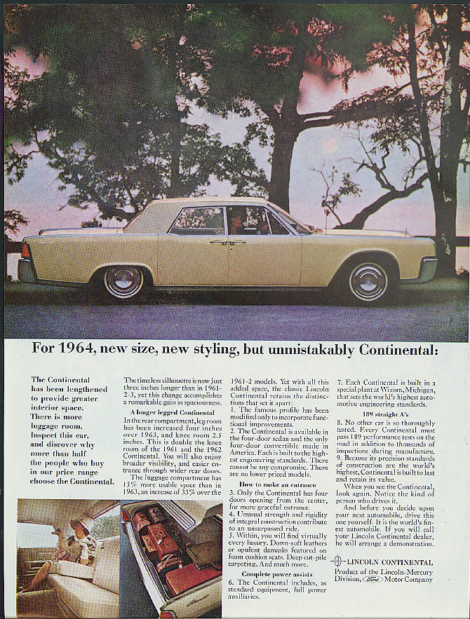 Image for For 1964 new size new styling unmistakably Lincoln Continental ad
