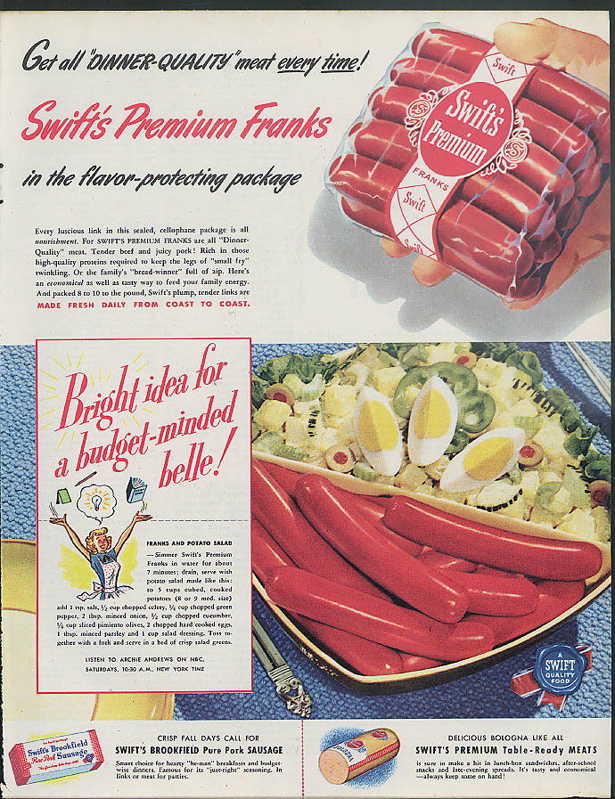 Image for Get all dinner-quality meat every time! Swift's Premium Franks ad 1948 hotdog