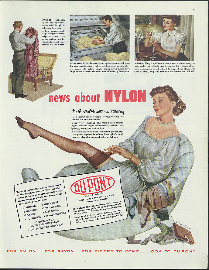 News about Nylon from Du Pont ad 1948 George Lappan ? Pin-up leg art
