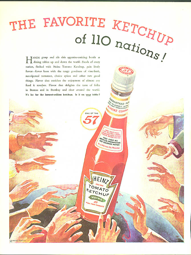 Image for The Favorite Ketchup of 110 Nations! Heinz Ketchup ad 1935